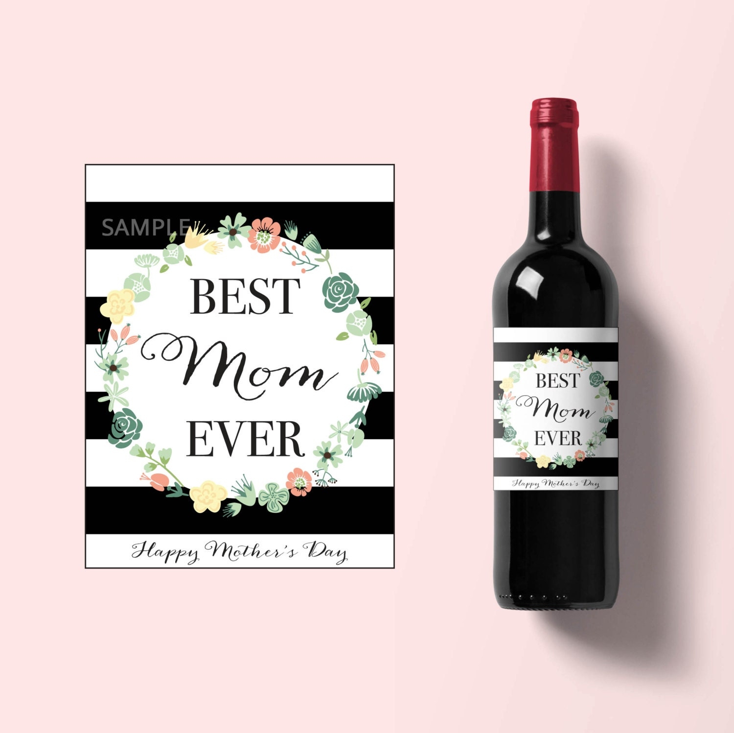 This is a graphic of Dramatic Mother's Day Wine Labels