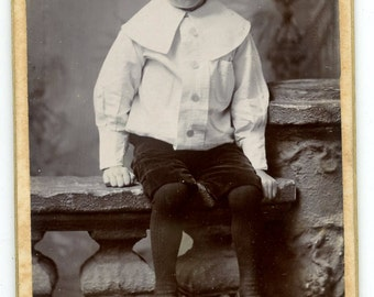 1880s Little Boy Straw Hat CDV Photo Carte de Visite Antique Vintage Victorian Brighton