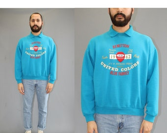 Vintage United Colors of Benetton Teal Polo Sweatshirt - 90s Benetton Sweatshirt - Benetton Blue Family - Large