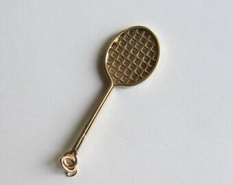 14k Gold 3D Tennis Racquet Charm/ Pendant .64g
