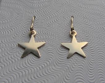 14k Gold Tiny Delicate Star Dangle Earrings .33g
