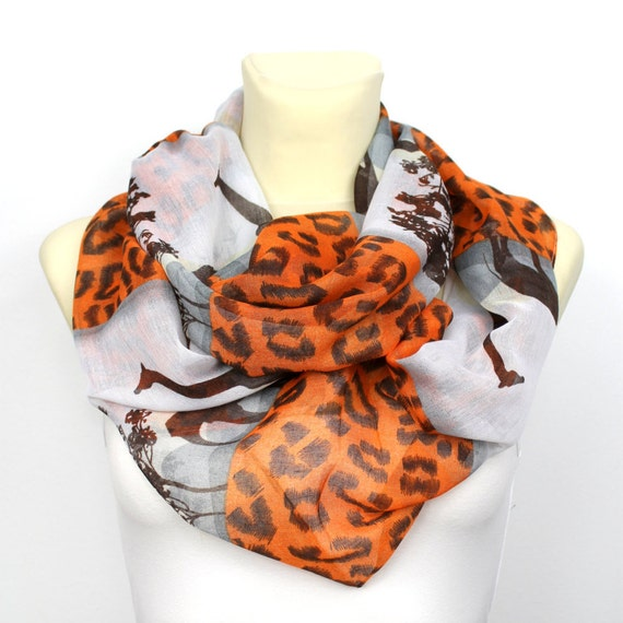 Animal Loop Scarf - Best Friend Gift - Printed Circle Scarf - Gift for Wife - Women Circle Scarf - Autumn Clothing - Winter Accessories
