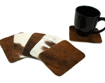 Cowhide Coasters - House Warming Gift - Hostess Gift - set of 4 brown and white leather coasters, four coasters - rectangle coasters