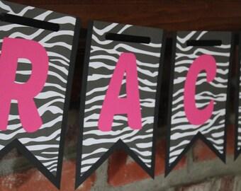 Zebra Banner Hot Pink and Black Banner Birthday Banner Zebra Hot Pink and Black Birthday Banner Girly Teen Birthday Zebra Banner