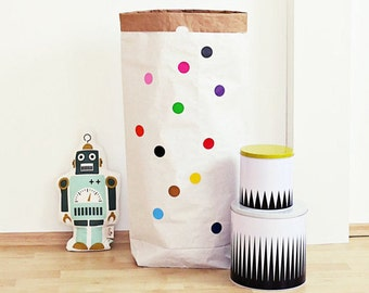 Paper bag, Paperbag, paper bag, colorful dots, circles, dots, stickers, storage, box, crate, Toy Box, nursery, Utensilo