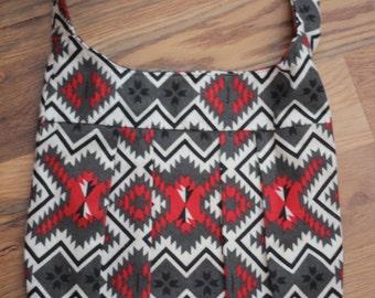 Red and Black Tribal Print Crossbody Bag
