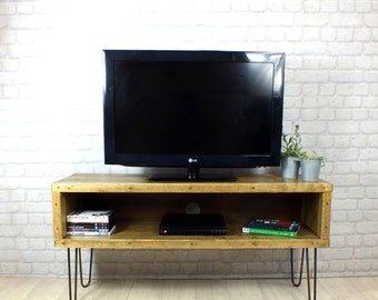 hairpin legs vintage industrial reclaimed rustic timber media TV unit cabinet