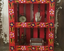 Vintage Mexican Folk Art Shelf, Knick Knack Shelf, Red Wood Shelf, 3 Tiered Shelf, Boho Chic