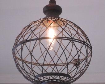 Rustic Lighting Medium Metal Globe Pendant - lighting,  rustic lighting, farmhouse, industrial light, kitchen lighting, pendant light