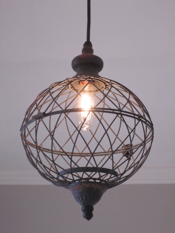 Rustic Globe String Lights : Rustic Lighting Medium Metal Globe Pendant lighting rustic