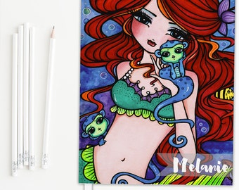Mermaid journal, hardcover journal, personalized journal, can be used as a journal diary, sketchbook journal or writing journal