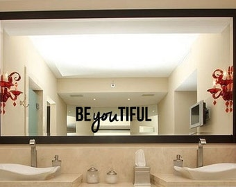 Beautiful decal - Beyoutiful mirror decal - bathroom decal