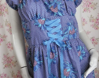 Vintage Blue Dirndl Peasant Gown Hostess Maxi Diva Dress M/36