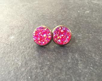 simple druzy earrings | brass