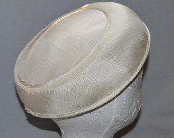 Vintage Ladies' Hat - 1950s or 1960s, Pancake Hat, Flat Hat, Cream or Ivory Linen