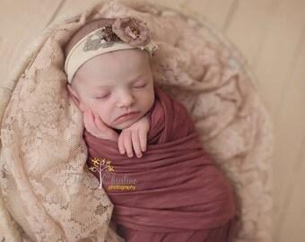 Vintage berry stretch wrap. Newborn wrap. Photography prop. Newborn prop.