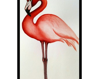 16x20 Original Watercolor Flamingo,    Wall Hanging, Home Décor, Original Watercolor