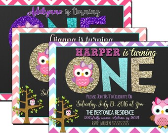 Owl St Birthday Etsy - 1st birthday invitations girl purple