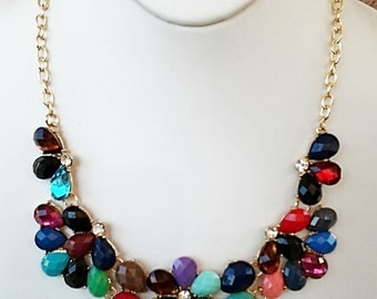Multi Colored and Clear Crystal Statement Necklace with Gold Chain / Bridesmaid Bib Necklace.