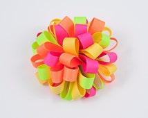 Neon Hair Bow, Neon Loopy Bow, Neon Bow, Neon Hair Clip, Neon Hair Accessory, Summer Hair Bow, Bright Hair Bow (Item #10383)