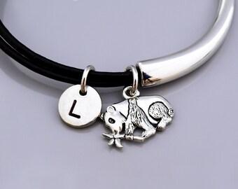 Panda Bear Bangle, Panda bracelet, Panda Bamboo tree, Silver panda charm, Leather bracelet, Leather bangle, Personalized bracelet