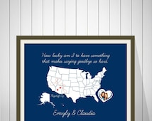 Best Friends Long Distance Present, Going Away Gift for BFF, Sister Gift, Birthday Gift for Best Friend, Two-State Personalized Map - 49477