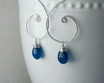 Blue Apatite Sterling Silver Earrings, Apatite Gemstones, Neon Blue Apatite Earrings