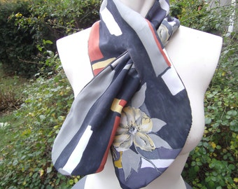Reversible scarf with flowers - Cordschal - grey scarf - gift for you - handmade scarf