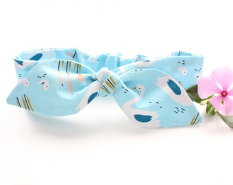 100% organic cotton baby girl headband, blue swans, organic kids clothing, organic baby headband, organic baby