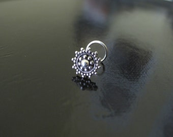 Silver Nose Ring, Nose Ring, Indian Nose Ring,Gypsy Nose Stud,Body Jewelry;Nose Piercing,Boho Jewelry,Tribal Nose Stud