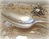 Hand Stamped Silver Halloween Coffee Tea Spoon Blessed Be Wiccan Samhain Halloween Entertaining Decoration Custom Stamped Vintage Silverware