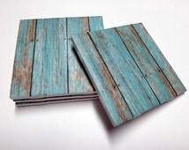 Turquoise Weathered Wood Coasters - Wood Design - Home Decor - Drink Coasters - Tile Coasters - Ceramic Coasters - Table Coasters