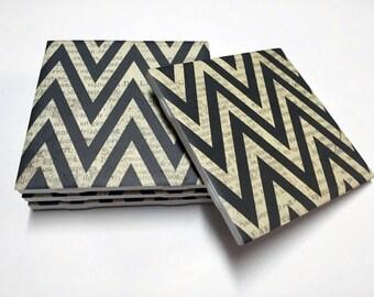 Black Chevron Coasters - Black Decor - Chevron Decor - Black Home Decor - Drink Coasters - Tile Coasters - Ceramic Coasters - Table Coasters