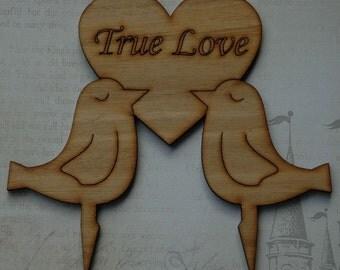 Rustic Two Love Doves Wooden Cake Topper in Tasmanian Oak, Wedding, Engagement lasercut