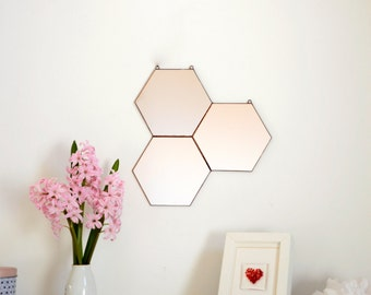 New! Honeycomb Mirror- Geometric Mirror- Wall Mirror
