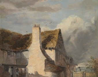 Cottage By A Country Lane by Sir Augustus Wall Callcott, in various sizes, Giclee Print on Canvas