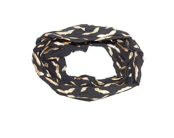 Black scarf with golden bats print -Woman accessories Urban modern look Black Scarf Gold Scarf