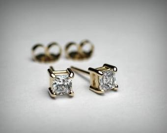 Diamond Earrings, Genuine Diamond Stud Earrings, Princess Cut, Solid 14K White or Yellow Gold, Natural Diamond, Genuine Diamond Earrings