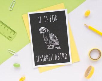 Umbrellabird Card. Animal Alphabet Card. 100% Recycled Card & Envelope