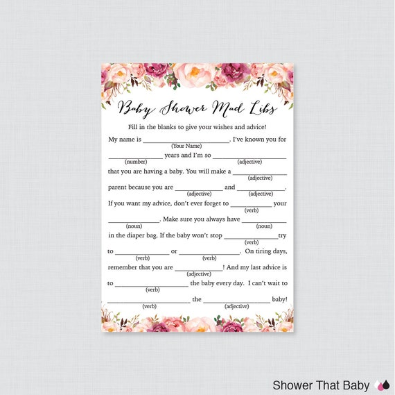 Pink Floral Baby Shower Mad Libs Printable Baby Shower