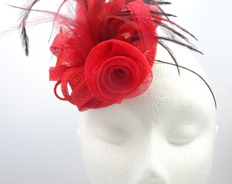 Red fascinator, feather fascinator, red rose headpiece, wedding guest hat, occasion fascinator, fascinator headband, fascinator UK