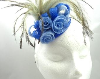 Fascinator hat, cornflower blue, royal blue, brown, headpiece, hatinator