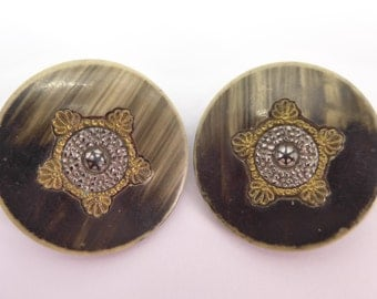 2 Vintage Edwardian Cut Filigree Steel Early Plastic Metal Back Button