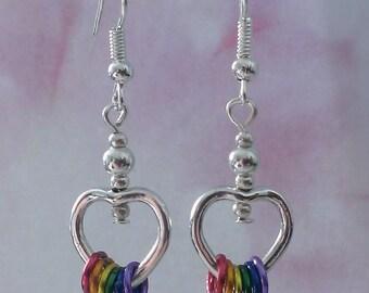 LGBT earrings - pride lesbian gay rainbow freedom rings earrings
