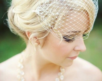 Birdcage Veil, Bridal Veil and Bridal Rhinestone Bandeau Birdcage Veil, Blusher Bird Cage Veil,Russian Veil Short Veil