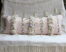 Long Lumbar Pink Moroccan Wedding Blanket Pillow Moroccan Pillow | Boho Pillow | Tribal | Handira | Berber | Fringe Pillow | Silver Coins