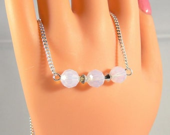 Bridal necklace, Crystal white Opal Necklace, necklace, sterling silver necklace, Crystal Necklace, bridesmaid gift
