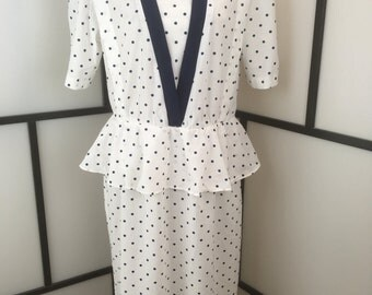 Blue Polka Dot Dress, Vintage Dress, Peplum Skirt, Whirlaway, 1980s Secretary Dress, White Women's Dress, Plus Size