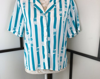 Striped Vintage Shirt, Blue and White Blouse, Striped Blouse, Women's Blouse, Patterned Blouse, Size Medium or Large