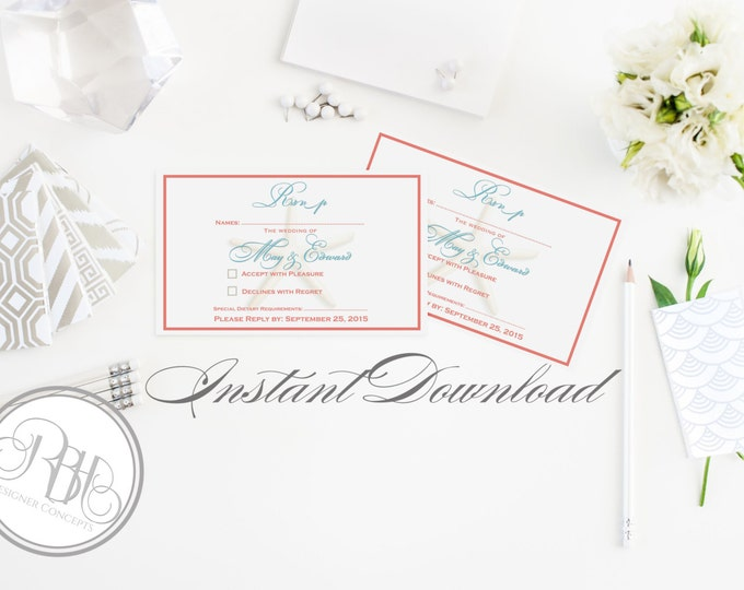 "Wedding RSVP Card Template INSTANT DOWNLOAD-Diy Editable Text- Beachside Starfish Turquoise & Coral-""Natahlia"""